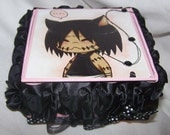 Anime Japanese Treasure Box Secret Container Handmade Stitches Sewing Needle Ruffles Gift for Teenager Unusual Unique Odd Emo Punk Weird