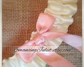 Satin Skirted Satin Bridal Garter...Custom Colors Available..shown in ivory/coral peach