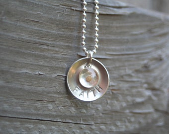 Small Sterling Silver Resin Mustard Seed Charm FAITH Matt 17:20 Hand Stamped Disc Sterling Silver Necklace