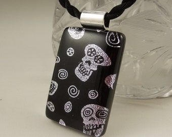 Skeleton - Goth - Gothic - Skull - Crossbones - Halloween Jewelry - Dichroic Fused Glass Pendant - Dichroic Jewelry X4910
