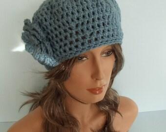 Blue Crocheted Beret