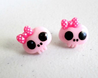 Pastel Skulls With Bows Earrings in Your Choice of Color