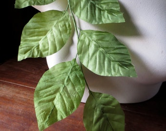 Silk Leaves Vintage German in Green for Bridal, Boutonnieres, Hat or Costume Design, Floral Supply