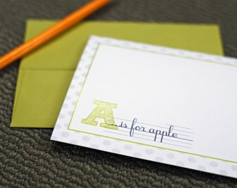 Personalized Folded Note Cards (Set of 10) - A is for... Design