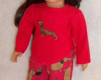 18 inch  Doll Red Doxie Pajamas