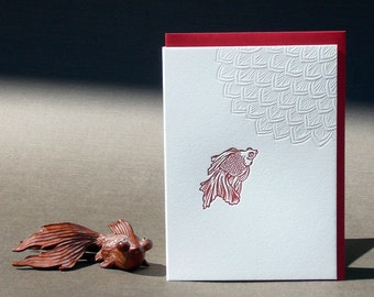 Red Goldfish Letterpress Card