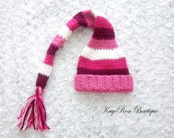 Newborn Baby Girl Stocking Cap Pink and White Stripes