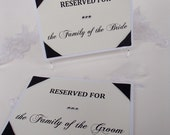 Reserved for Family FLAT Style- Ceremony-Reception Table Signs-Corner ribbon wrapped with Ribbon to Hang-Cream-2 signs