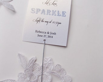 Wedding Sparkler Tags-Shimmery White Gold Cardstock- Let Love Sparkle- Light the Way Farewell send off-Newlyweds
