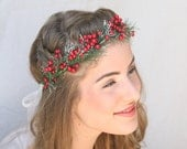 Holiday Wedding Red Berry and Pine Woodland Wedding Wreath, Floral Crown, Christmas Wedding Headpiece