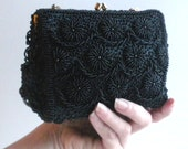 Vintage Small Black Beaded Evening Bag with Kiss Clasp and Chain Handle - Made in Hong Kong