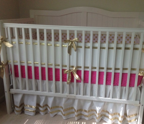 gold and hot pink crib bedding set by butterbeansboutique on etsy. Black Bedroom Furniture Sets. Home Design Ideas
