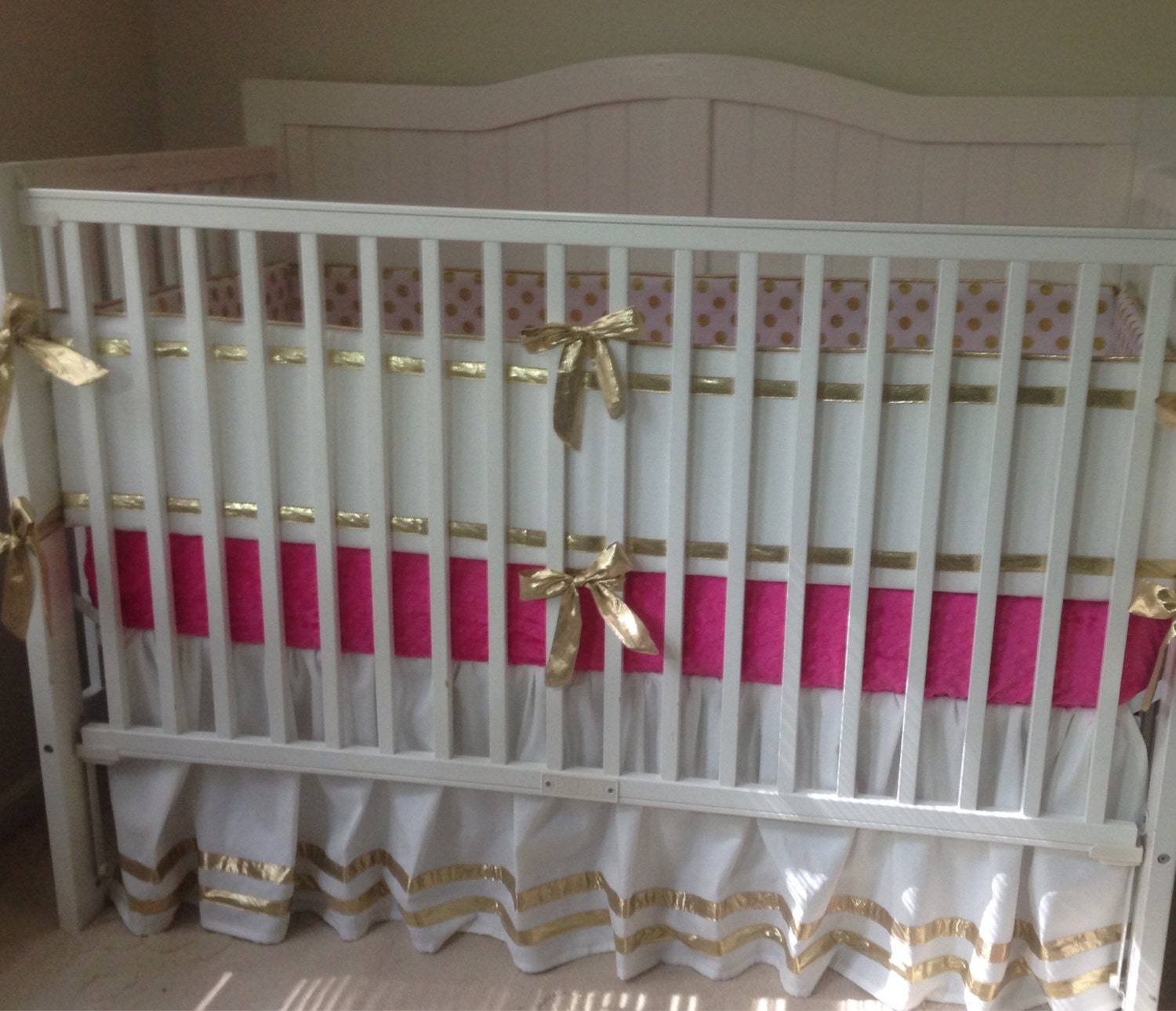 Gold And Hot Pink Crib Bedding Set By Butterbeansboutique
