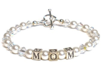 Sterling Silver Mom Bracelet, Crystal and Pearl Mothers Jewelry, Mothers Day Gift