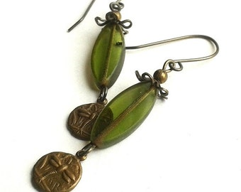 Olive Petal Earrings with tiny brass dragonfly drops, kissed with flower bead caps, lightweight and accented with warm antiqued brass