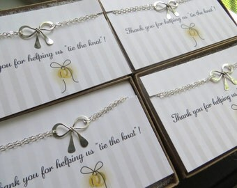 Bridesmaid silver bow bracelets set of 7 bridal party gifts, bridesmaid jewelry, tie the knot bracelet, bridesmaid thank you card