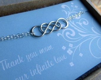 Double infinity bracelet, intertwined infinity bracelet, mother jewelry, gift for mother, infinite love card, mother of the bride gift