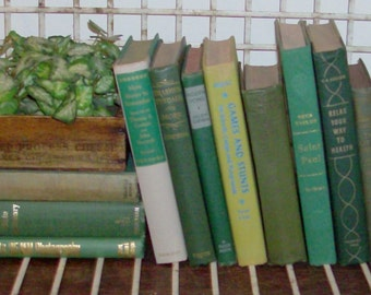 Instant Collection of 11 Green Vintage and Antique Books