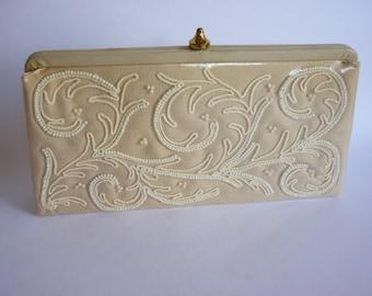 Vtg Beaded Linen Clutch SOURE Bone with White Encased in Clear Vinyl 50s 60s