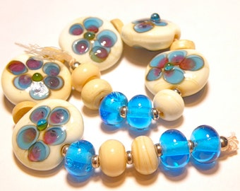 SALE 70% OFF --- DESTASH -- 15 Beads: Coordinating Set of Ivory, Aqua Blue, and Purple Daisy Lentils and Rondelles - Lot F