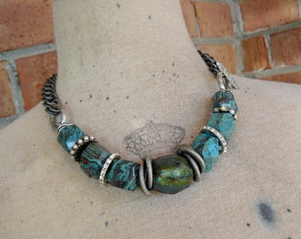 Denium Blue - Organic, Natural Jasper Statement Necklace with Mixed Silver Metal Elements - OOAK - 19 inches