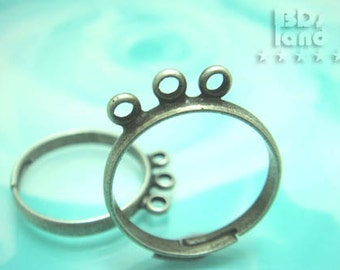 last stock -40% / G109SA / 6Pc / 1Row x 3Loops - Antique Silver Plated Adjustable Finger Ring Findings.