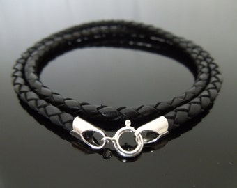 """4mm Black Braided Leather & Sterling Silver Cord Necklace Or Double Wrap Wristband 18"""" (46cm)"""