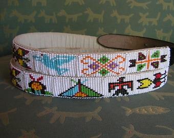 Native American Indian Style Hand Beaded Belt Pictorial Seed Bead Belt Southwest Beading Vintage Thunderbird Tribal Belt