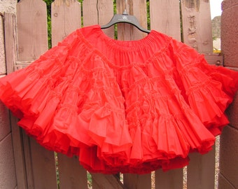 Red Petticoat Full Slip Skirt Crinoline Petticoats by Ruby Worswick Vintage Ruffled Nylon Rockabilly Pin up