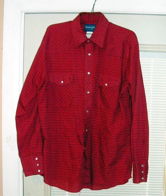 Wrangler Pearl Snap Shirt Xl Large Xxl Red Plaid Cowboy