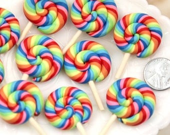 30mm Bright Rainbow Swirl Lollipop Flatback Clay or Resin Cabochons - 5 pc set
