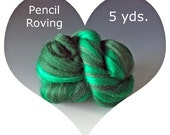 Dream Felt's Merino Pencil Roving 5 yds. SHADES OF GREEN Perfect for Needle Felting