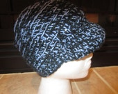 Unisex Crochet Union St. Cap  Blue Cream Brim Beanie Hat Head Warmer