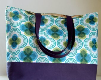 Emerald Flowers XL Extra Large Beach Bag / BIG Tote Bag - Ready to Ship