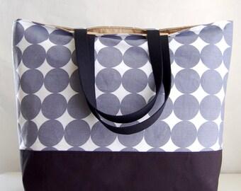 Grey Dots XL Extra Large Beach Bag / BIG Tote Bag - Ready to Ship