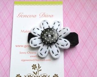 Black and White Polka Dot Felt Flower Clip