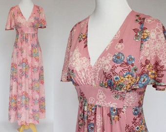 70's Empire Waist Prom Dress / Pink Floral / Flutter Sleeves / Nylon / XSmall