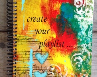 """Create Your Playlist 5.5""""x8.5"""" Lined Paper Notebook, Journal, Wholesale Notebooks, Writing Book"""