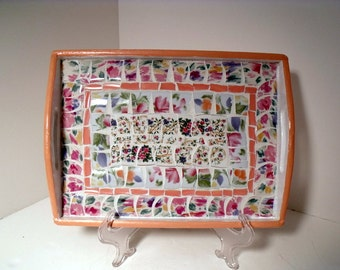Mosaic Tray in Pastel Florals