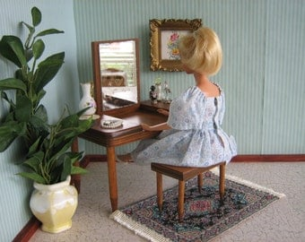 Vintage Doll Furniture Wooden Vanity And Bench For Small