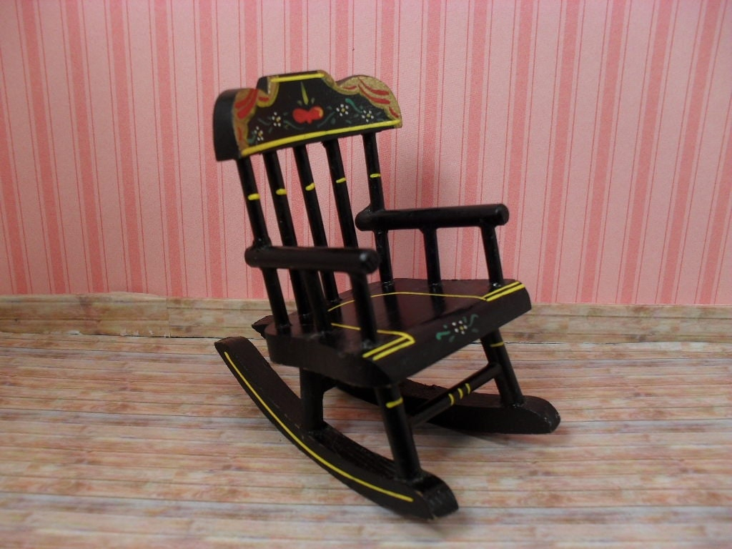 Child s hand painted rocking chair - Vintage Doll House Furniture Pennsylvania Dutch Hand Painted