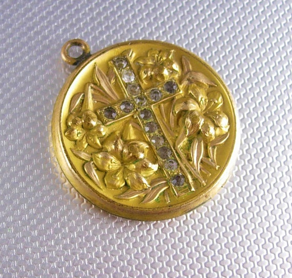 Antique  Locket 1910 Religious Cross Victorian  GOld filled Nouveau Easter lily MEMORIAL