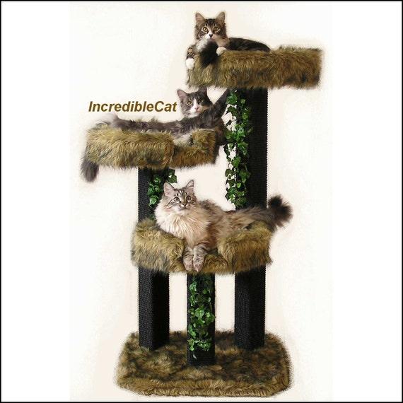 Cat FURNITURE. 4' High, Designer Cat Tree, Elegant Cat Condo, Modern Cat Tree, Unique Cat Furniture Tree, Custom Cat Trees, Luxury Cat Beds.