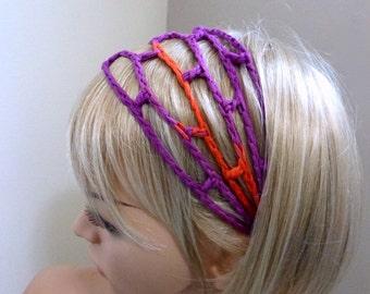 The ORIGINAL Trellis Headband- in Cottonation Designer Yarn - Italian Yarn
