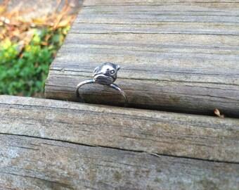 Sterling Silver Woodland Perching Bird Ring
