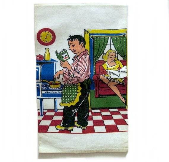 Creations 1950s Man Wife Cooking Vintage Kitchen Towel Cartoon Scene