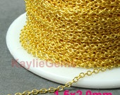 Gold 1.5x2mm Fine Delicacy Soldered Brass Oval Cable Cross Link Chain - 12ft