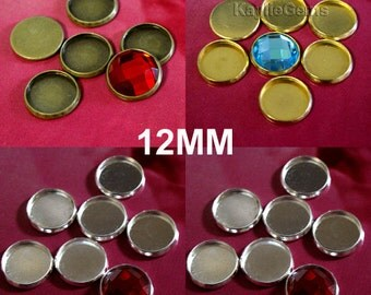 12 Cabochon Cab Setting Round 12mm Bezel Tray Silver, Antique Brass, Raw Brass  -ST-CB12MM- Pick your finish