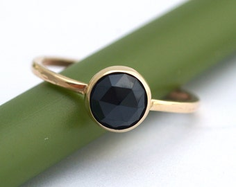 Rose Cut Melanite Garnet Bloom In Gold - Modern Stacking Ring
