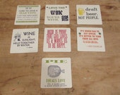 Set 7 LETTERPRESS PARTY COASTERS Wine Beer Cider Pie
